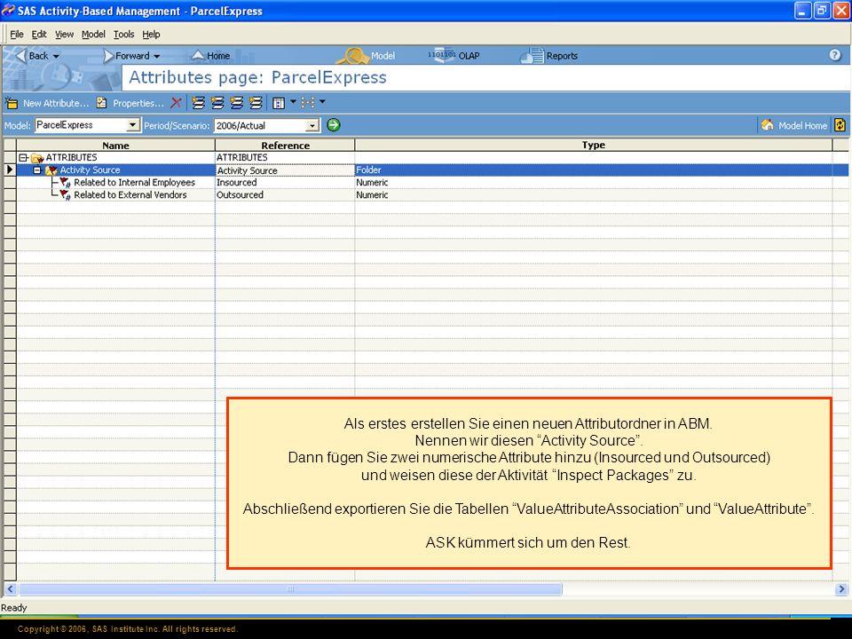 Copyright © 2006, SAS Institute Inc. All rights reserved. Als erstes erstellen Sie einen neuen Attributordner in ABM. Nennen wir diesen Activity Sourc