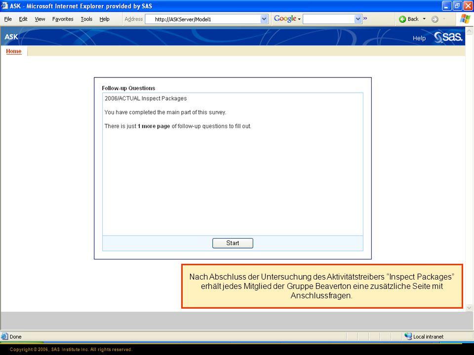 Copyright © 2006, SAS Institute Inc. All rights reserved. Nach Abschluss der Untersuchung des Aktivitätstreibers Inspect Packages erhält jedes Mitglie
