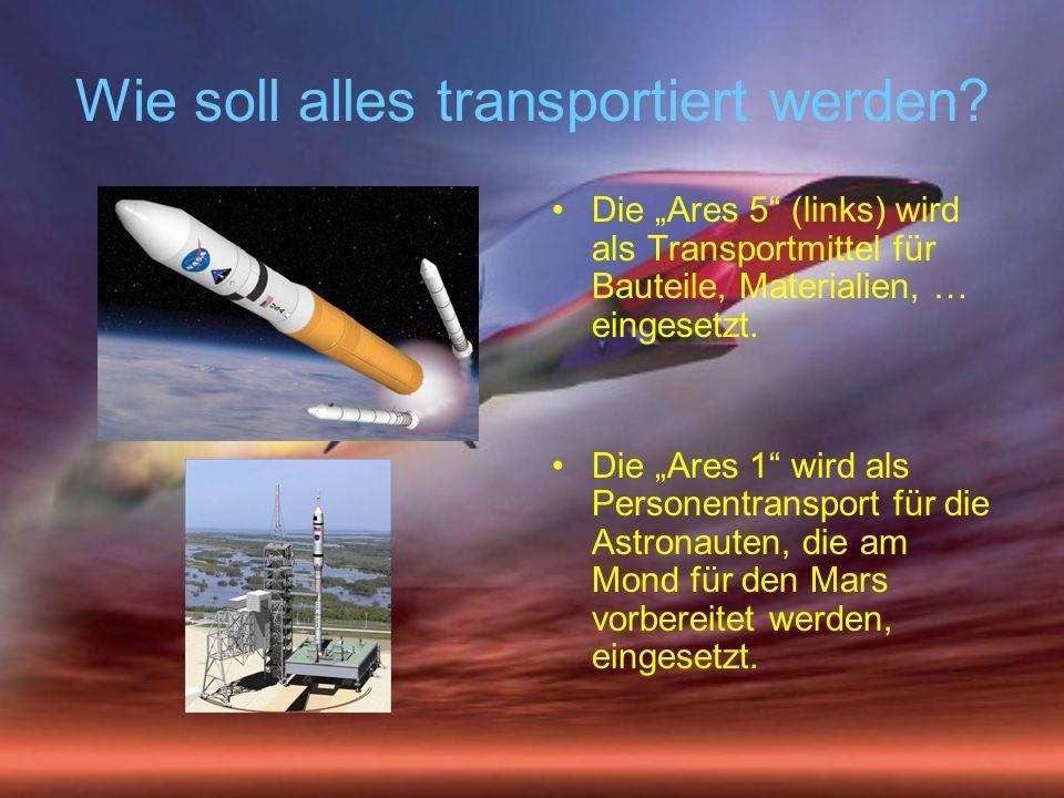 Wie soll alles transportiert werden? Die Ares 5 (links) wird als Transportmittel für Bauteile, Materialien, … eingesetzt. Die Ares 1 wird als Personen