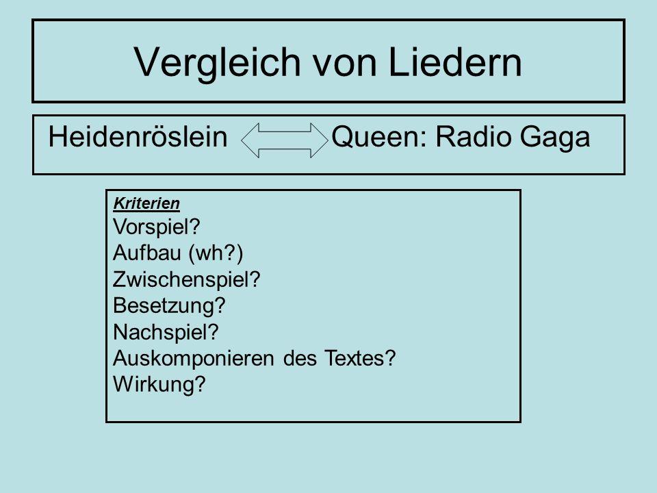 Vergleich von Liedern Heidenröslein Queen: Radio Gaga Kriterien Vorspiel? Aufbau (wh?) Zwischenspiel? Besetzung? Nachspiel? Auskomponieren des Textes?