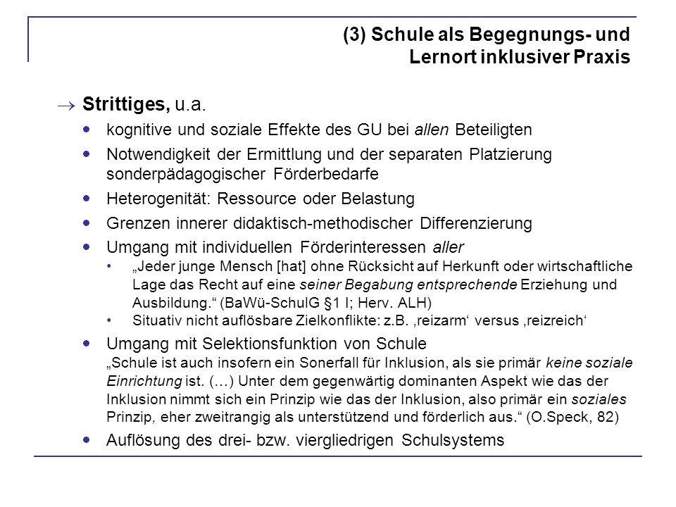 (3) Schule als Begegnungs- und Lernort inklusiver Praxis Strittiges, u.a. kognitive und soziale Effekte des GU bei allen Beteiligten Notwendigkeit der