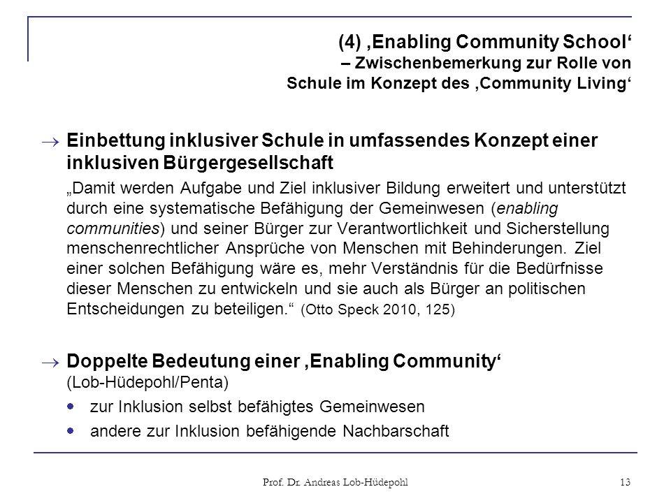 (4) Enabling Community School – Zwischenbemerkung zur Rolle von Schule im Konzept des Community Living Einbettung inklusiver Schule in umfassendes Kon