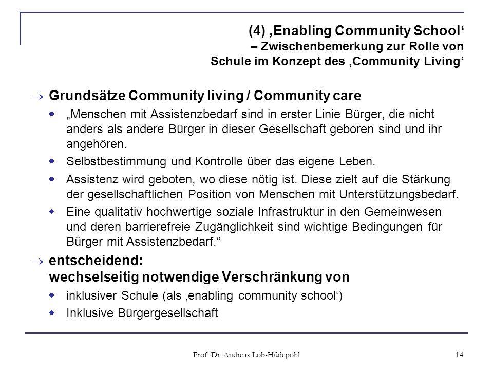 (4) Enabling Community School – Zwischenbemerkung zur Rolle von Schule im Konzept des Community Living Grundsätze Community living / Community care Menschen mit Assistenzbedarf sind in erster Linie Bürger, die nicht anders als andere Bürger in dieser Gesellschaft geboren sind und ihr angehören.