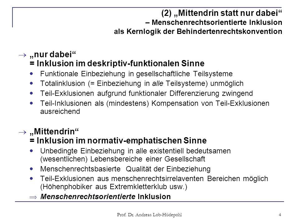 Prof. Dr. Andreas Lob-Hüdepohl 4 (2) Mittendrin statt nur dabei – Menschenrechtsorientierte Inklusion als Kernlogik der Behindertenrechtskonvention nu