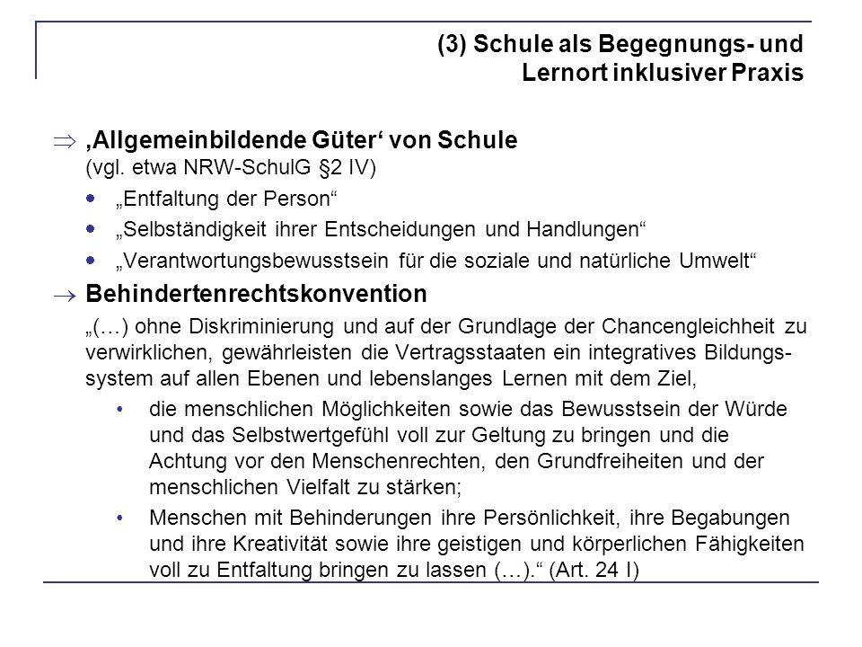 (3) Schule als Begegnungs- und Lernort inklusiver Praxis Allgemeinbildende Güter von Schule (vgl. etwa NRW-SchulG §2 IV) Entfaltung der Person Selbstä