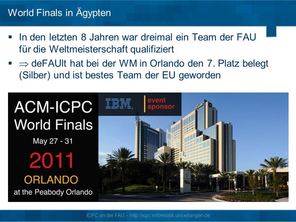 ICPC an der FAU – http://icpc.informatik.uni-erlangen.de World Finals in Ägypten In den letzten 8 Jahren war dreimal ein Team der FAU für die Weltmeisterschaft qualifiziert deFAUlt hat bei der WM in Orlando den 7.