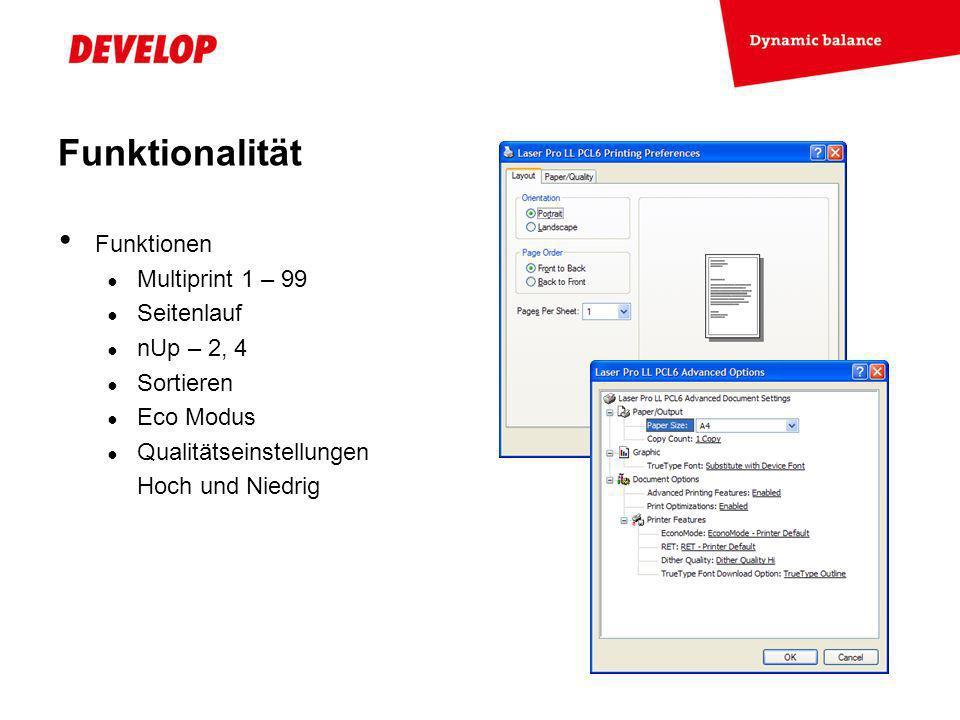 Exchange Meeting Jan 06 – Lars Moderow Funktionen Multiprint 1 – 99 Seitenlauf nUp – 2, 4 Sortieren Eco Modus Qualitätseinstellungen Hoch und Niedrig Funktionalität