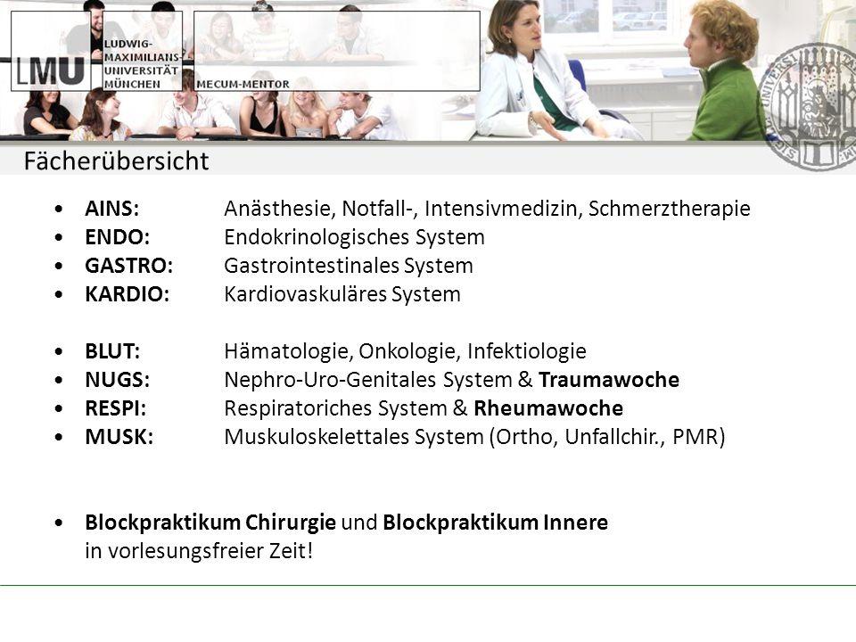 Fächerübersicht AINS:Anästhesie, Notfall-, Intensivmedizin, Schmerztherapie ENDO:Endokrinologisches System GASTRO:Gastrointestinales System KARDIO:Kardiovaskuläres System BLUT:Hämatologie, Onkologie, Infektiologie NUGS:Nephro-Uro-Genitales System & Traumawoche RESPI: Respiratoriches System & Rheumawoche MUSK: Muskuloskelettales System (Ortho, Unfallchir., PMR) Blockpraktikum Chirurgie und Blockpraktikum Innere in vorlesungsfreier Zeit!