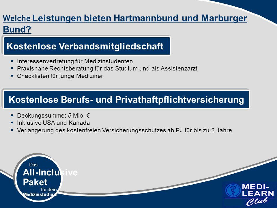 Das All-Inclusive Paket für dein Medizinstudium Welche Leistungen bieten Hartmannbund und Marburger Bund.