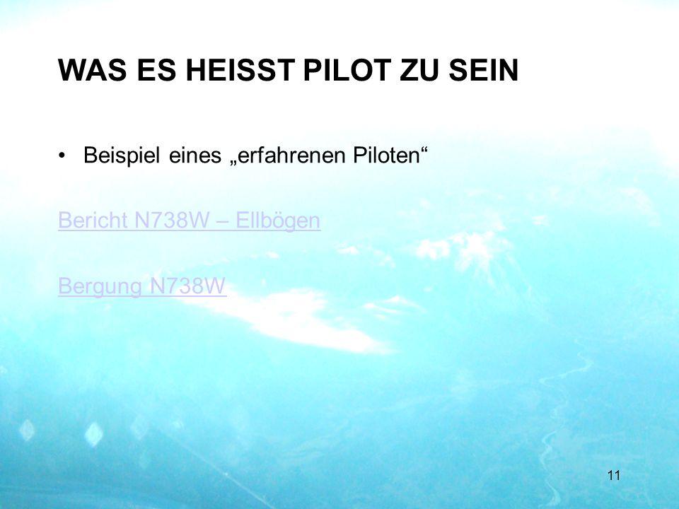 WAS ES HEISST PILOT ZU SEIN Beispiel eines erfahrenen Piloten Bericht N738W – Ellbögen Bergung N738W 11