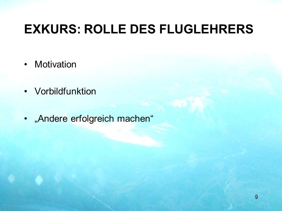 EXKURS: ROLLE DES FLUGLEHRERS Motivation Vorbildfunktion Andere erfolgreich machen 9