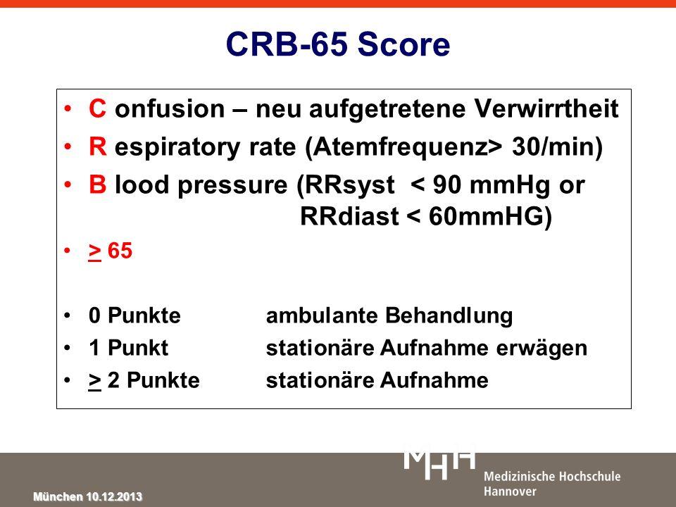 München 10.12.2013 CRB-65 Score C onfusion – neu aufgetretene Verwirrtheit R espiratory rate (Atemfrequenz> 30/min) B lood pressure (RRsyst < 90 mmHg