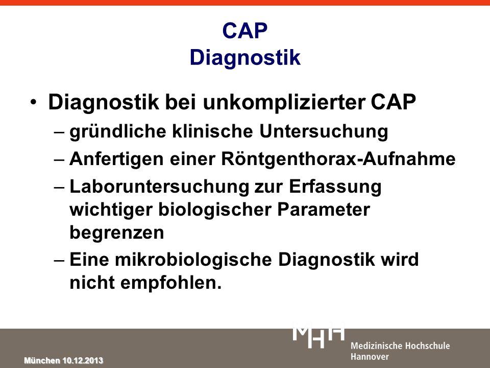 München 10.12.2013 CAP Diagnostik Diagnostik bei unkomplizierter CAP –gründliche klinische Untersuchung –Anfertigen einer Röntgenthorax-Aufnahme –Labo