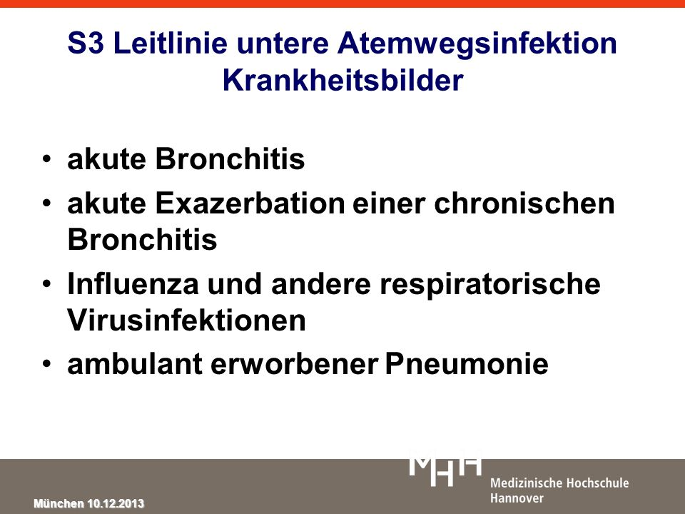 München 10.12.2013 Neuraminidase Inhibitors in Influenza Neuraminidase inhibitors (NI) prevent symptoms and shorten the duration of illness by about one day if taken within 48 hours of the onset of symptoms Oseltamivir did not reduce influenza related lower respiratory tract complications (RR 0.55, 95% CI 0.22 to 1.35) NI reduce the chance of people exposed to influenza developing laboratory confirmed influenza but not influenza-like illness Oseltamivir causes nausea Jefferson T et al.
