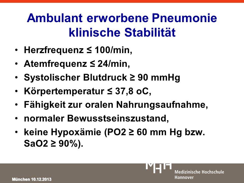 München 10.12.2013 Ambulant erworbene Pneumonie klinische Stabilität Herzfrequenz 100/min, Atemfrequenz 24/min, Systolischer Blutdruck 90 mmHg Körpert