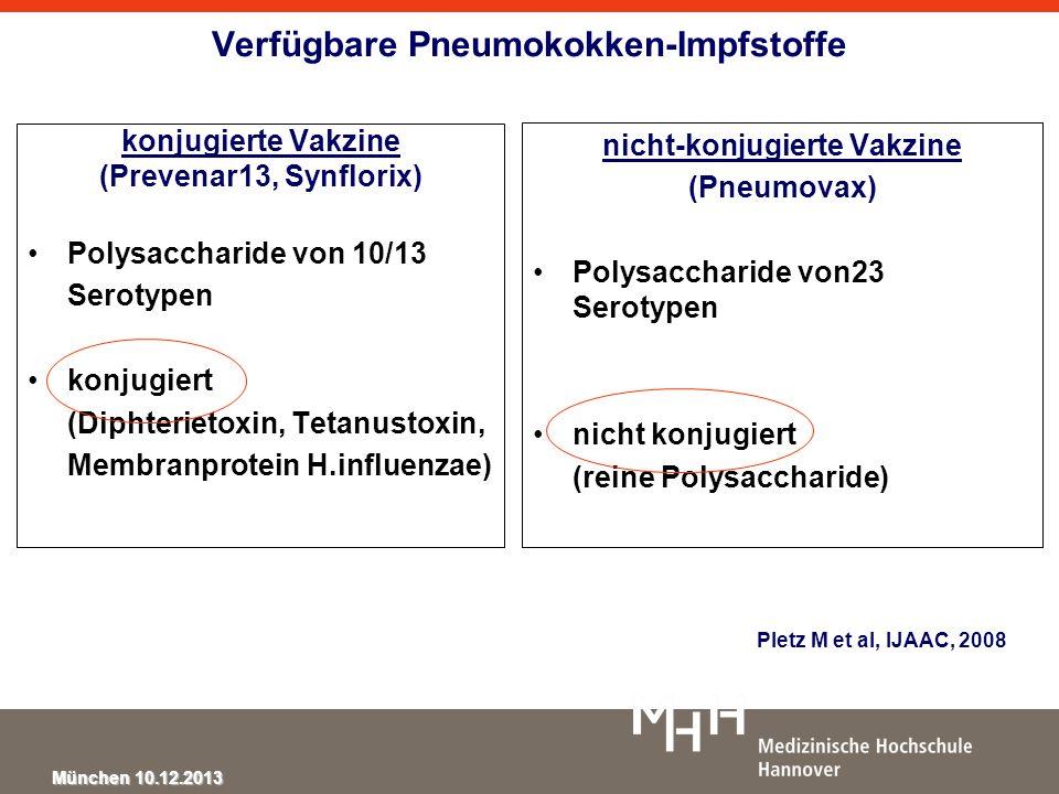 München 10.12.2013 Verfügbare Pneumokokken-Impfstoffe konjugierte Vakzine (Prevenar13, Synflorix) Polysaccharide von 10/13 Serotypen konjugiert (Dipht