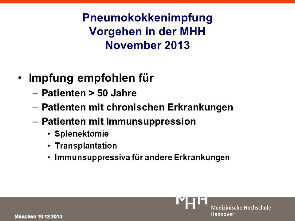 München 10.12.2013 Pneumokokkenimpfung Vorgehen in der MHH November 2013 Impfung empfohlen für –Patienten > 50 Jahre –Patienten mit chronischen Erkran