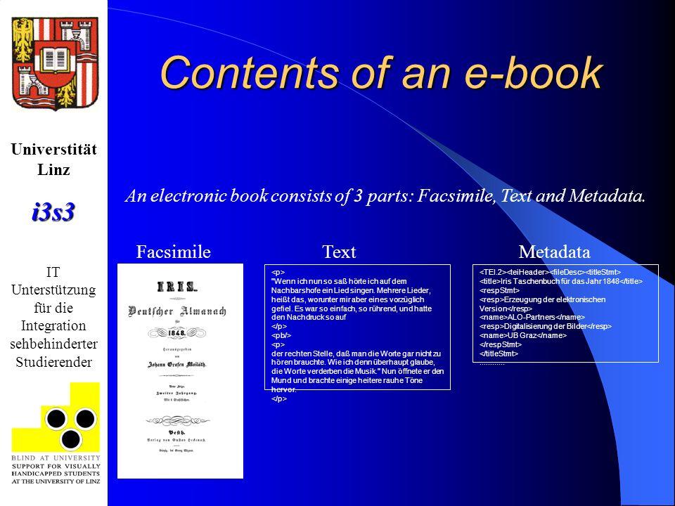 Universtität Linzi3s3 IT Unterstützung für die Integration sehbehinderter Studierender Contents of an e-book Facsimile