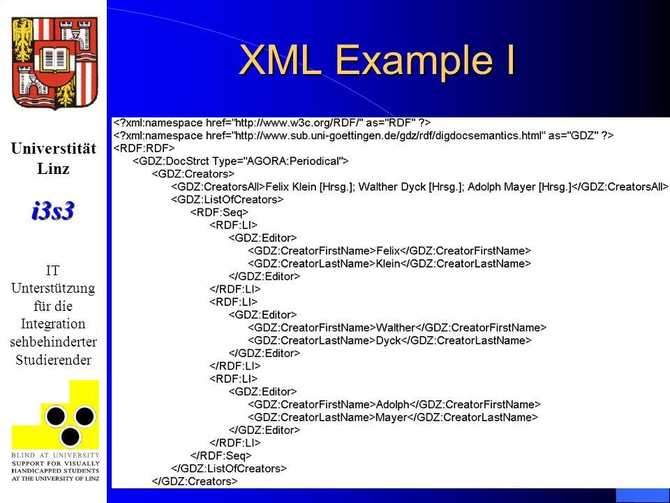 Universtität Linzi3s3 IT Unterstützung für die Integration sehbehinderter Studierender XML Example I