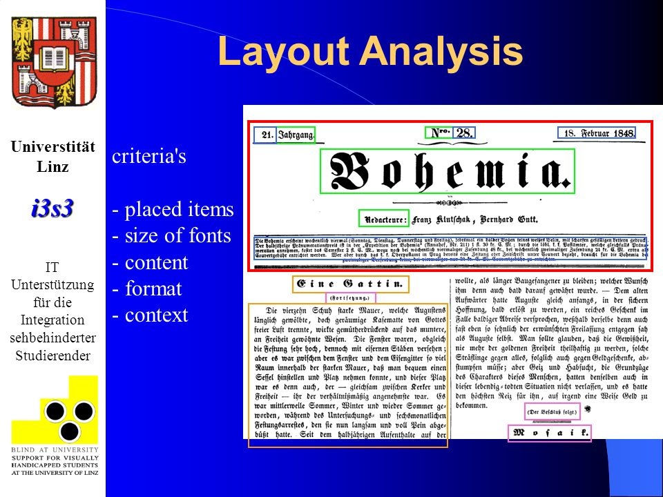 Universtität Linzi3s3 IT Unterstützung für die Integration sehbehinderter Studierender criteria s - placed items - size of fonts - content - format - context Layout Analysis