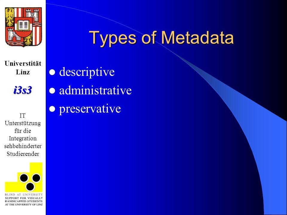 Universtität Linzi3s3 IT Unterstützung für die Integration sehbehinderter Studierender Types of Metadata descriptive administrative preservative
