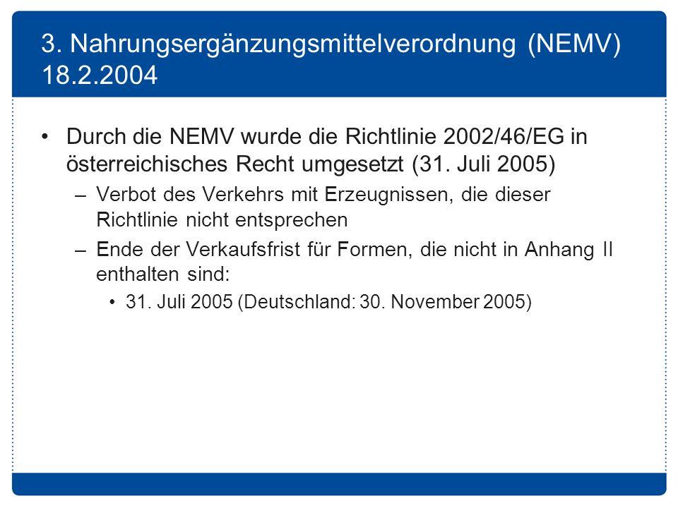 3. Nahrungsergänzungsmittelverordnung (NEMV) 18.2.2004 Durch die NEMV wurde die Richtlinie 2002/46/EG in österreichisches Recht umgesetzt (31. Juli 20
