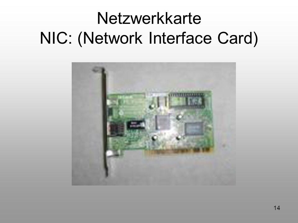 14 Netzwerkkarte NIC: (Network Interface Card) Kommt noch eigenes Bild