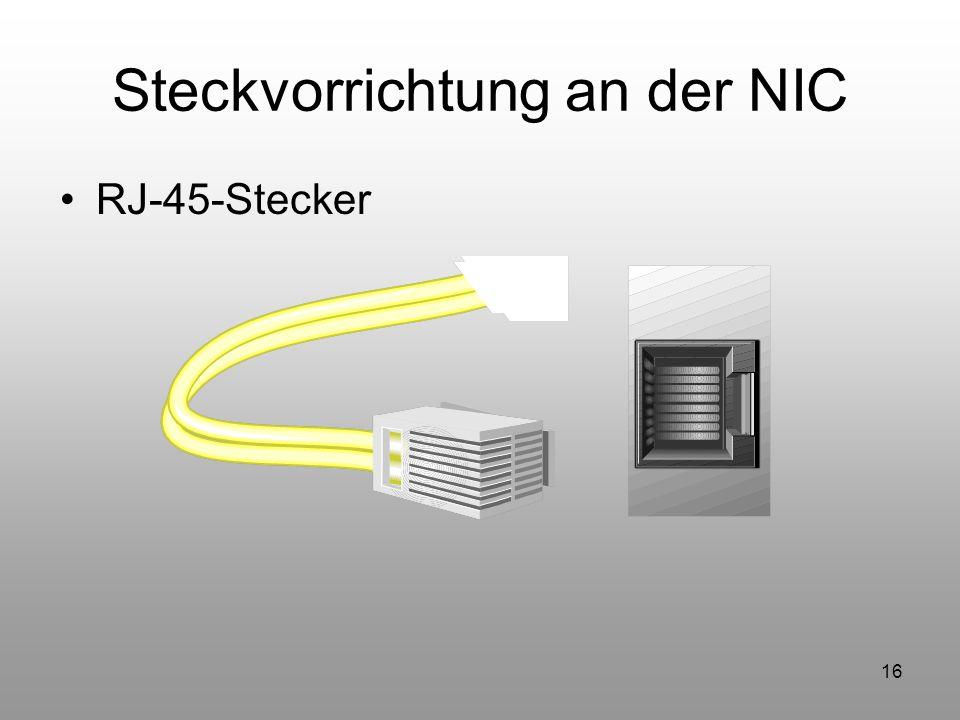 16 Steckvorrichtung an der NIC RJ-45-Stecker