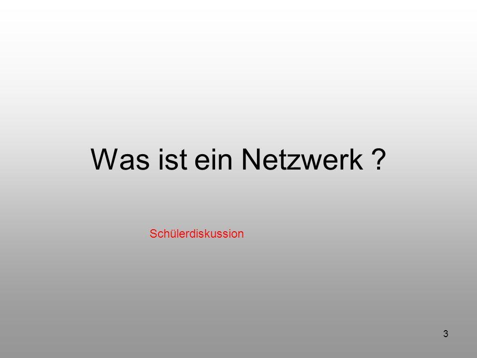 3 Was ist ein Netzwerk ? Schülerdiskussion
