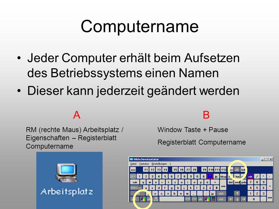 49 Computername Jeder Computer erhält beim Aufsetzen des Betriebssystems einen Namen Dieser kann jederzeit geändert werden A RM (rechte Maus) Arbeitsp