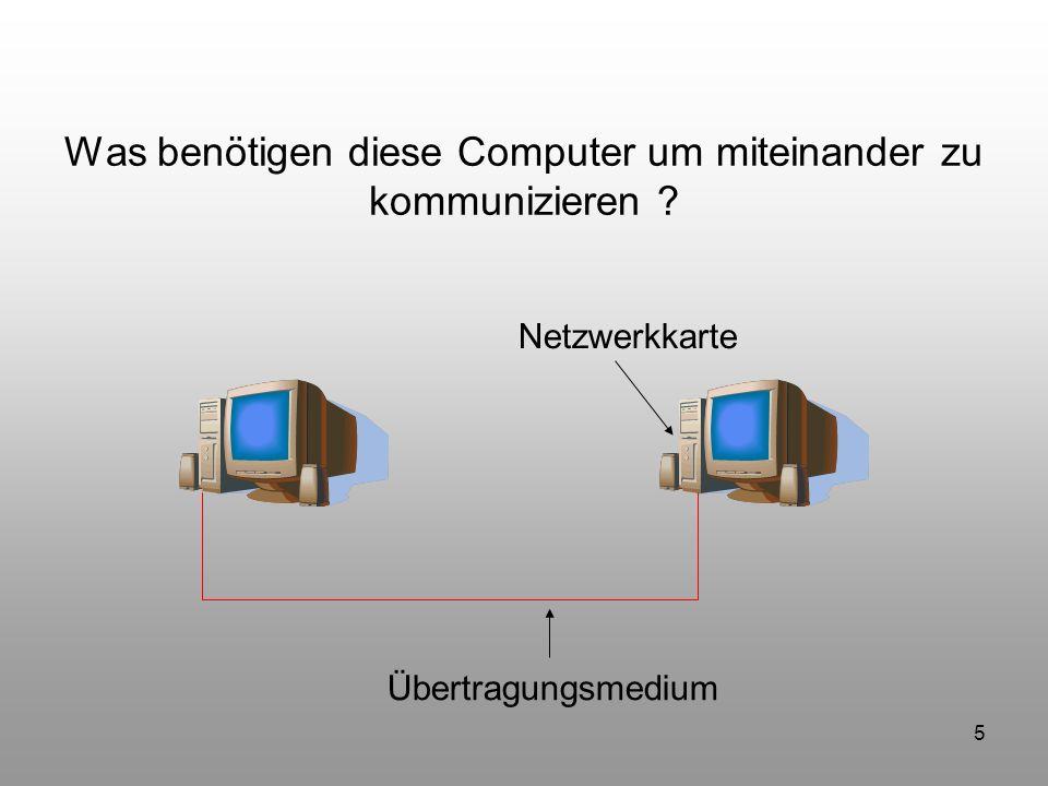 86 Zusammenfassung Wir erinnern uns: Netzwerkkarte Übertragungsmedium Eine gemeinsame Sprache (Protokoll) Adressierung