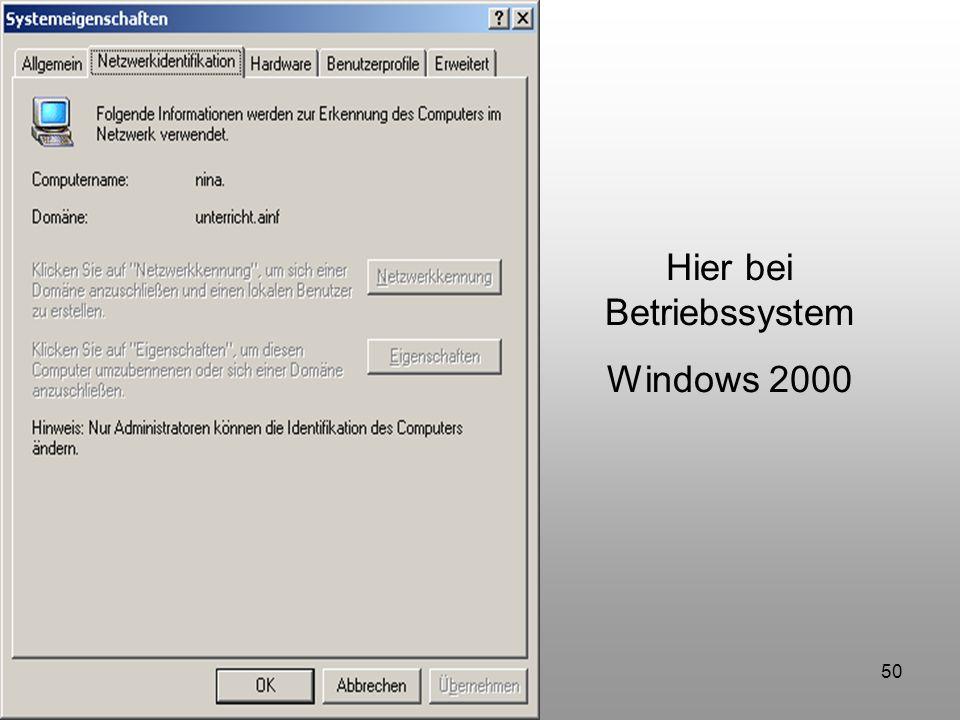 50 Hier bei Betriebssystem Windows 2000