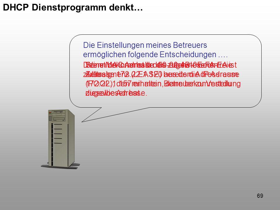 69 DHCP Dienstprogramm denkt… Die Einstellungen meines Betreuers ermöglichen folgende Entscheidungen …. Deine MAC Adresse 00-90-4B-0E-FA-EA ist zuläss