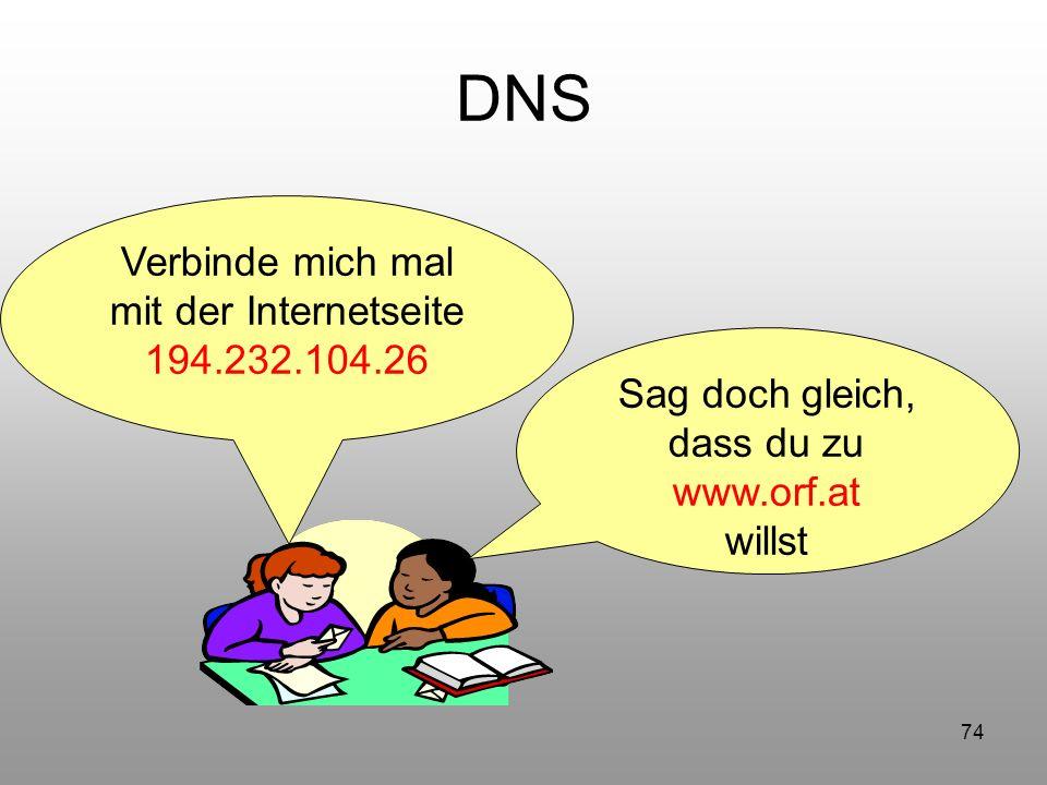 74 DNS Verbinde mich mal mit der Internetseite 194.232.104.26 Sag doch gleich, dass du zu www.orf.at willst