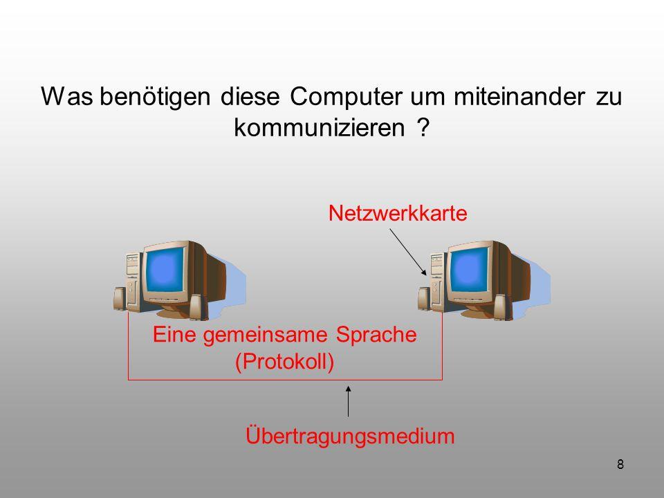 8 Was benötigen diese Computer um miteinander zu kommunizieren ? Netzwerkkarte Übertragungsmedium Eine gemeinsame Sprache (Protokoll)