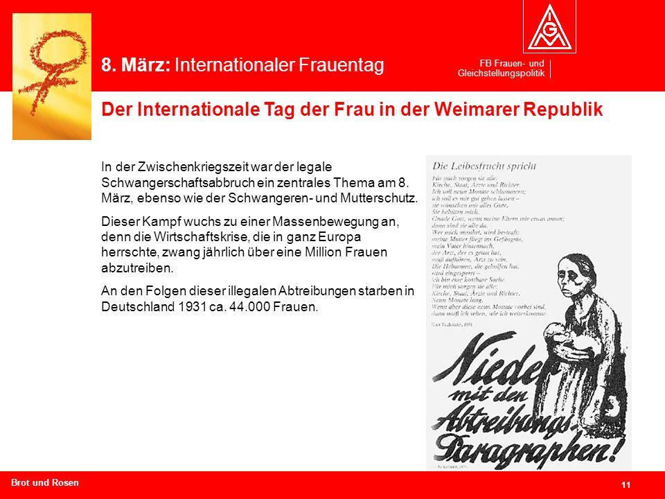 FB Frauen- und Gleichstellungspolitik 11 Branchen und Regionen hier eingeben In der Zwischenkriegszeit war der legale Schwangerschaftsabbruch ein zent