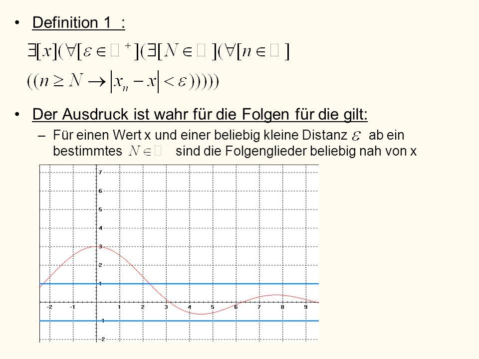Definition 1 : Der Ausdruck ist wahr für die Folgen für die gilt: –Für einen Wert x und einer beliebig kleine Distanz ab ein bestimmtes sind die Folge
