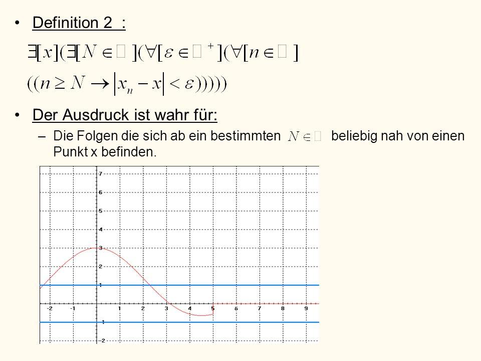 Definition 2 : Der Ausdruck ist wahr für: –Die Folgen die sich ab ein bestimmten beliebig nah von einen Punkt x befinden.