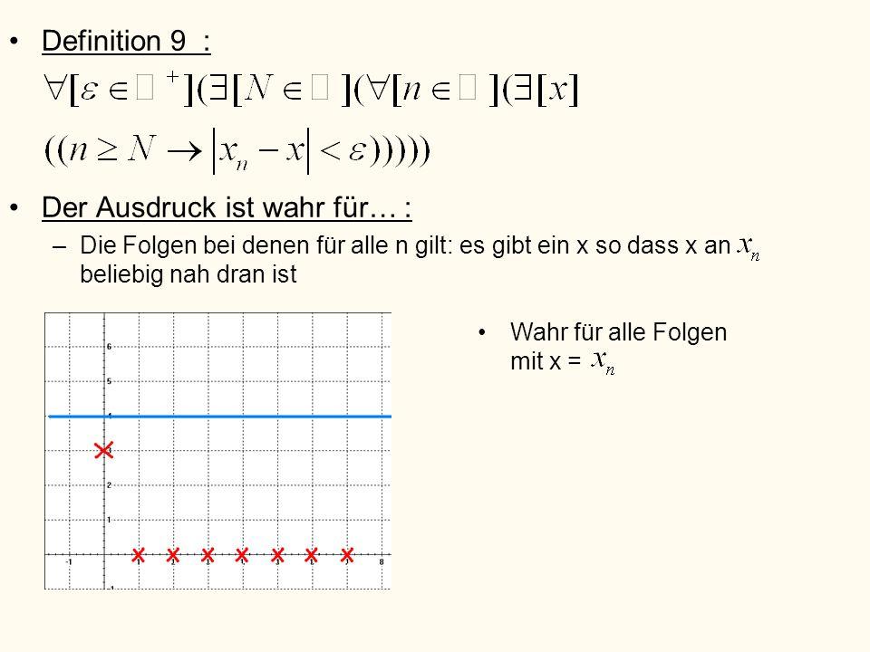 Definition 9 : Der Ausdruck ist wahr für… : –Die Folgen bei denen für alle n gilt: es gibt ein x so dass x an beliebig nah dran ist Wahr für alle Folg