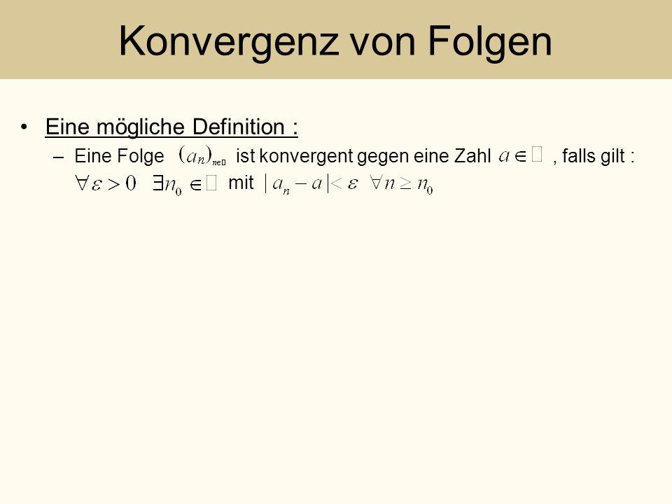 Konvergenz von Folgen Eine mögliche Definition : –Eine Folge ist konvergent gegen eine Zahl, falls gilt : mit