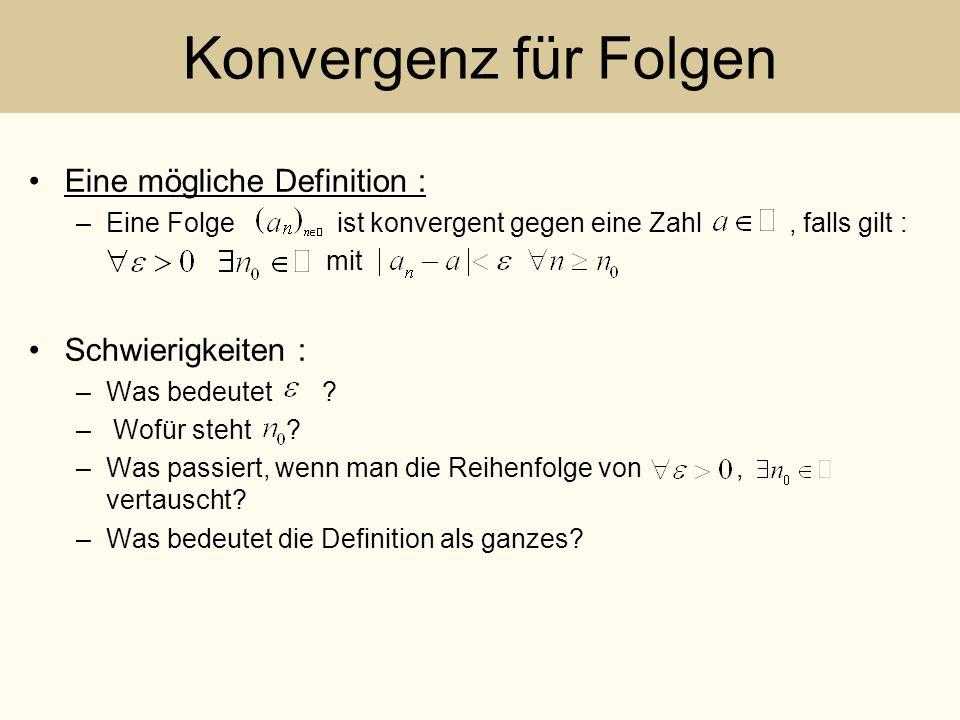 Konvergenz für Folgen Eine mögliche Definition : –Eine Folge ist konvergent gegen eine Zahl, falls gilt : mit Schwierigkeiten : –Was bedeutet ? – Wofü