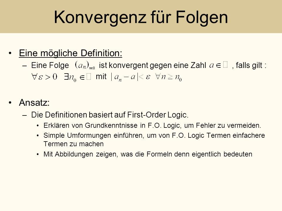 Konvergenz für Folgen Eine mögliche Definition: –Eine Folge ist konvergent gegen eine Zahl, falls gilt : mit Ansatz: –Die Definitionen basiert auf Fir