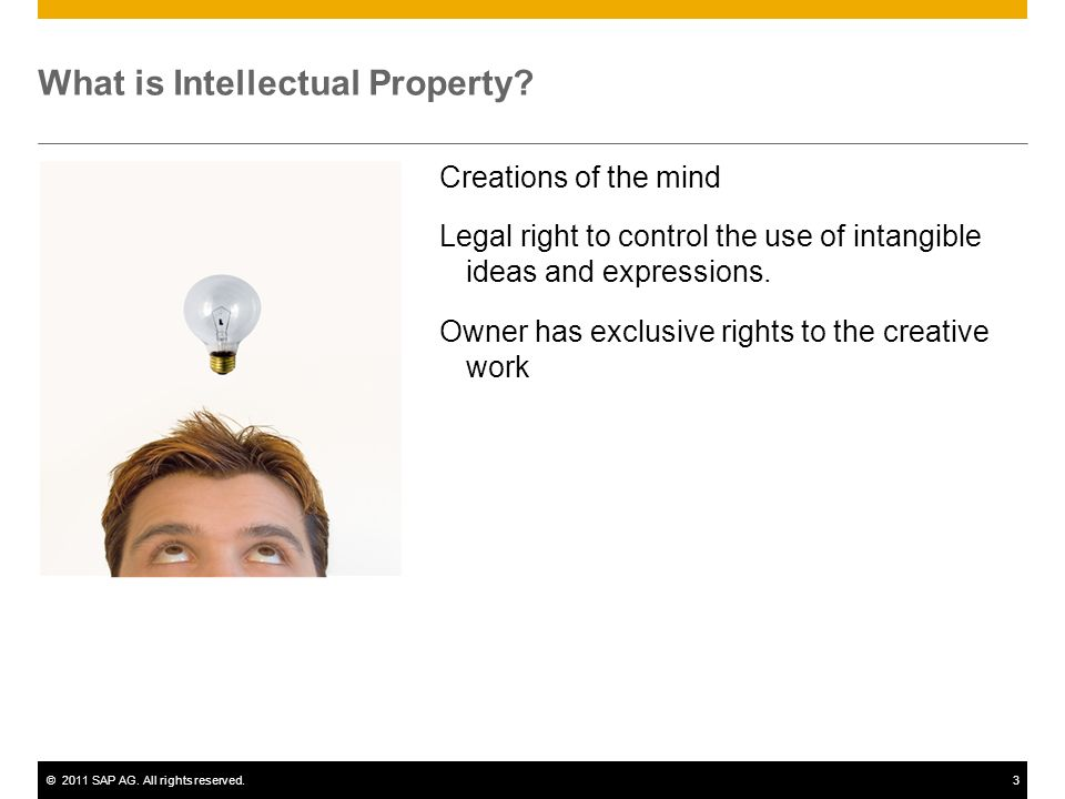©2011 SAP AG. All rights reserved.3 What is Intellectual Property.