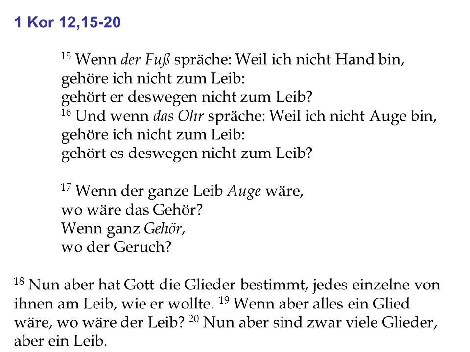 1 Kor 12,15-20 15 Wenn der Fuß spräche: Weil ich nicht Hand bin, gehöre ich nicht zum Leib: gehört er deswegen nicht zum Leib? 16 Und wenn das Ohr spr