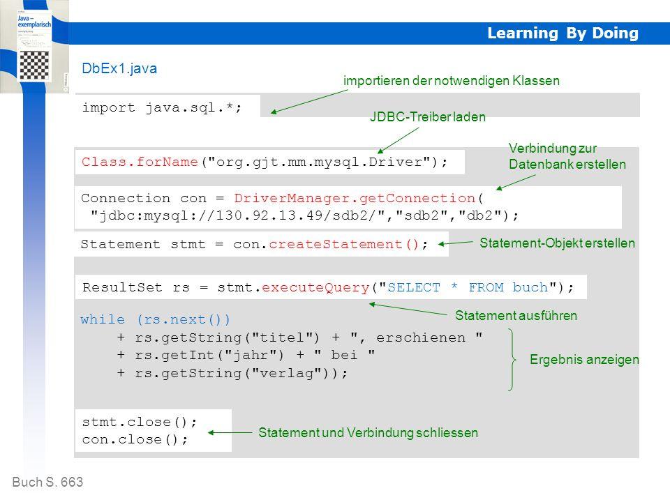 Client (Java-Applikation) Datenbankserver mit MySQL Der Zugriff erfolgt in folgenden Schritten: Learning By Doing 3.Verbindung zur Datenbank erstellen