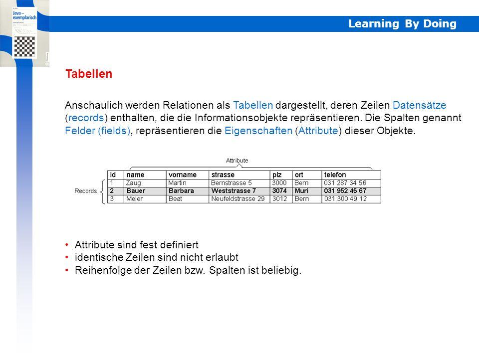 Learning By Doing Relationale Datenbanken DBMS (DataBase Management System) Werkzeuge zur Strukturierung und Manipulation der Daten Funktionen zur Ein