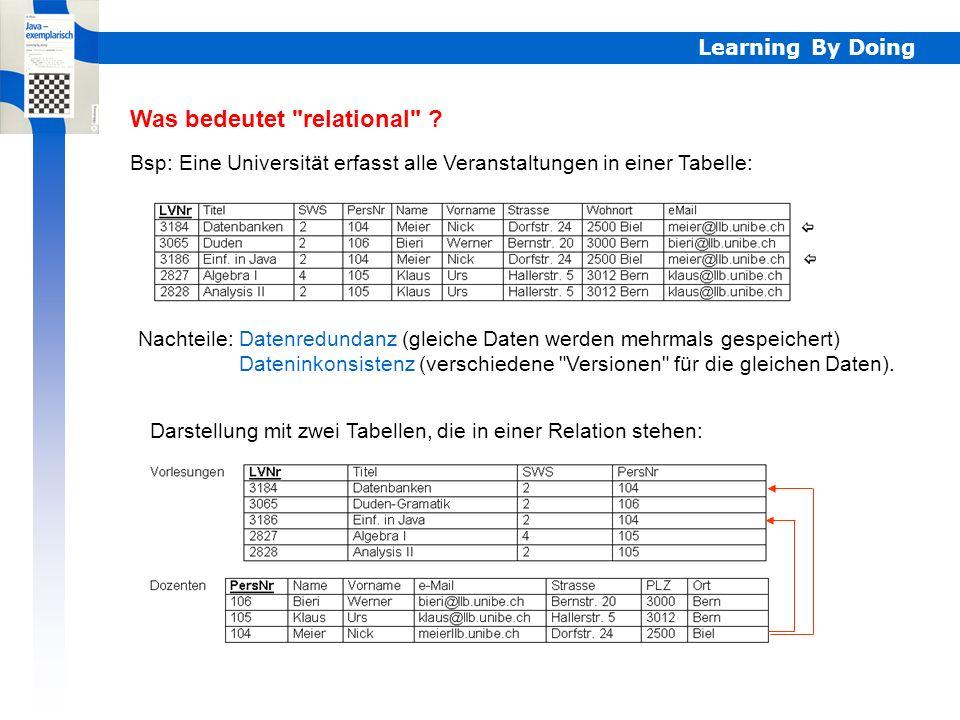 Learning By Doing Tabellen Anschaulich werden Relationen als Tabellen dargestellt, deren Zeilen Datensätze (records) enthalten, die die Informationsob