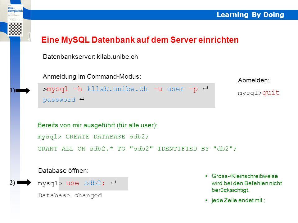 Learning By Doing MySQL MySQL ist ein vollwertiges Datenbanksystem aufgebaut auf der Grundlage von SQL gratis im Internet (www.mysql.com), läuft auf d