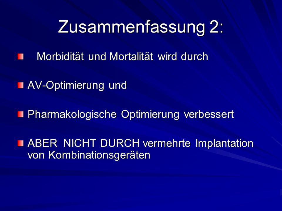 Zusammenfassung 2: Morbidität und Mortalität wird durch Morbidität und Mortalität wird durch AV-Optimierung und Pharmakologische Optimierung verbesser