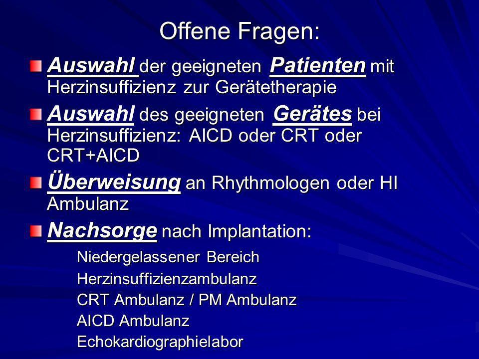 Offene Fragen: Auswahl der geeigneten Patienten mit Herzinsuffizienz zur Gerätetherapie des geeigneten Gerätes bei Herzinsuffizienz: AICD oder CRT ode